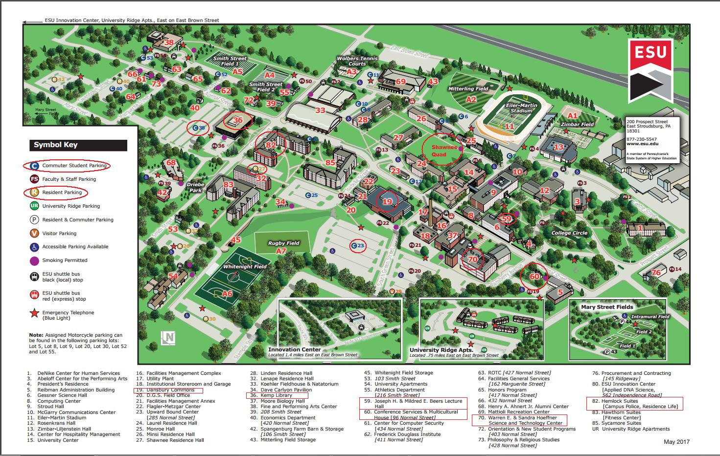 East Stroudsburg University Campus Map Image Gallery HCPR